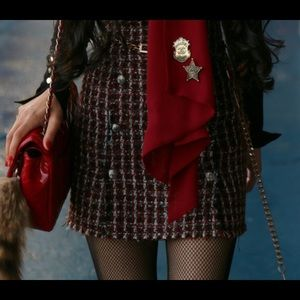 Zara Black and red tweed mini skirt